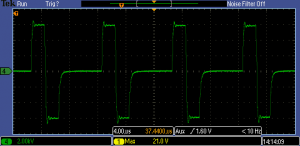 Bipolar 2 μs pulses with floating output. 6 kV into 2.5 kΩ at 100 kHz.