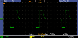 Bipolar 2 μs pulses with floating output. 2 kV into 6 kΩ at 70 kHz.