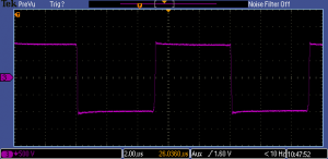 Isolated output can produce a wide range of pulse parameters with a single pulser. 1 kV, 5 μs, 100 kHz into 6 kΩ.